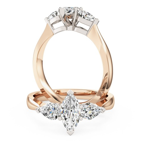 An elegant Marquise & Pear shaped three stone diamond ring in 18ct rose & white gold