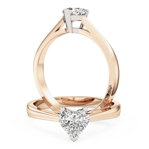 A charming heart-shaped solitaire diamond ring in 18ct rose & white gold