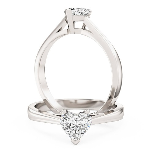 A charming heart-shaped solitaire diamond ring in platinum