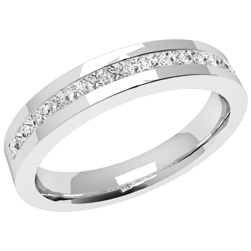 A sleek Princess Cut diamond eternity ring in platinum