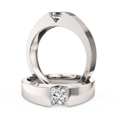 A striking tension set Princess Cut diamond ring in 18ct white gold