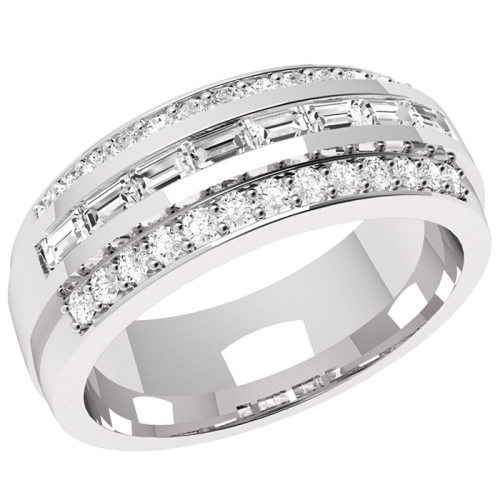 An eye-catching Baguette & Round Brilliant Cut dress diamond ring in 18ct white gold