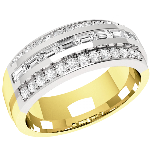An eye-catching Baguette & Round Brilliant Cut dress diamond ring in 18ct yellow & white gold