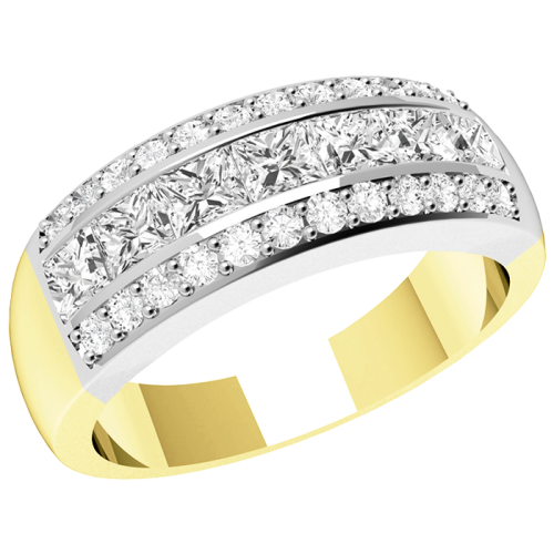 An eye-catching Princess & Round Brilliant Cut diamond ring in 18ct yellow & white gold