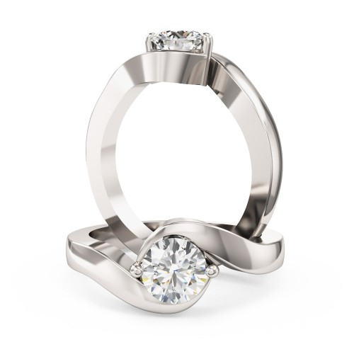A stylish Round Brilliant Cut twist diamond ring in platinum