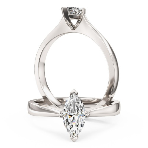 A stunning marquise cut solitaire diamond ring in platinum
