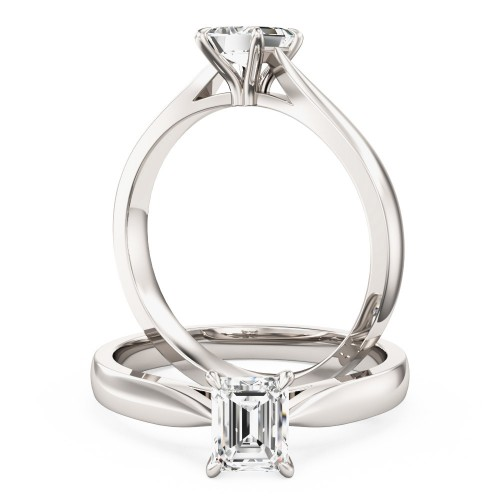 A classic Emerald Cut solitaire diamond ring in 18ct white gold