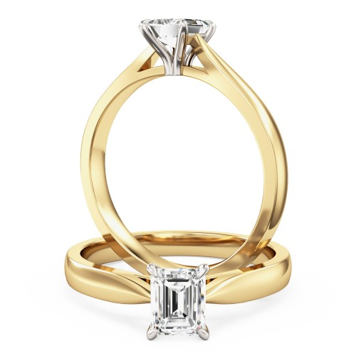 A classic Emerald Cut solitaire diamond ring in 18ct yellow & white gold