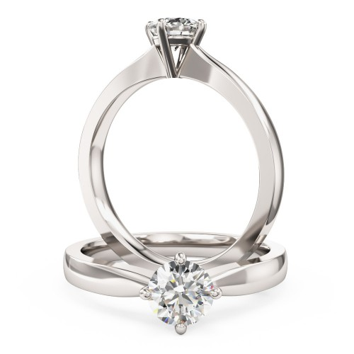 A classic Round Brilliant Cut solitaire diamond ring in 18ct white gold