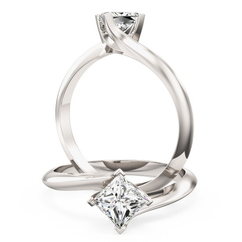 A stylish Princess Cut solitaire twist diamond ring in 18ct white gold