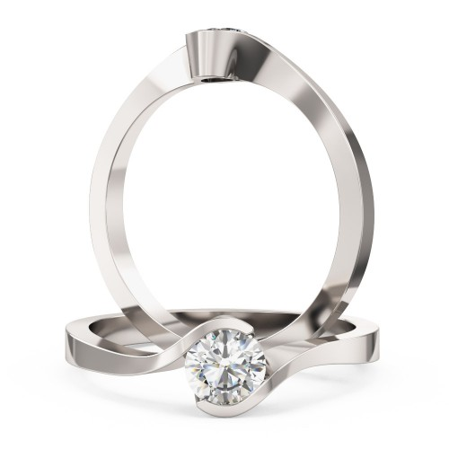A stylish Round Brilliant Cut solitaire twist diamond ring in 18ct white gold
