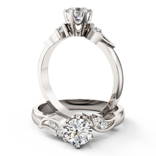 An elegant Round Brilliant Cut diamond ring with shoulder stones in platinum