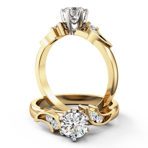 An elegant round brilliant cut diamond ring with shoulder stones in 18ct yellow & white gold