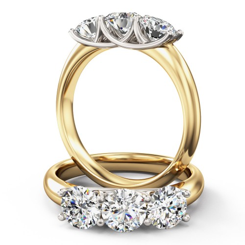 An elegant round brilliant cut three stone diamond ring in 18ct yellow & white gold