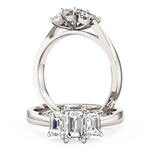 A beautiful Emerald Cut three stone diamond ring in platinum