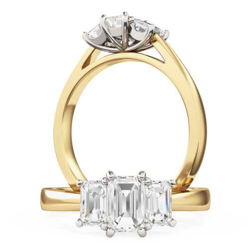 A beautiful Emerald Cut three stone diamond ring in 18ct yellow & white gold