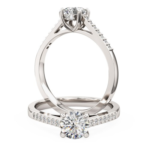 A dazzling Round Brilliant Cut diamond ring with shoulder stones in platinum