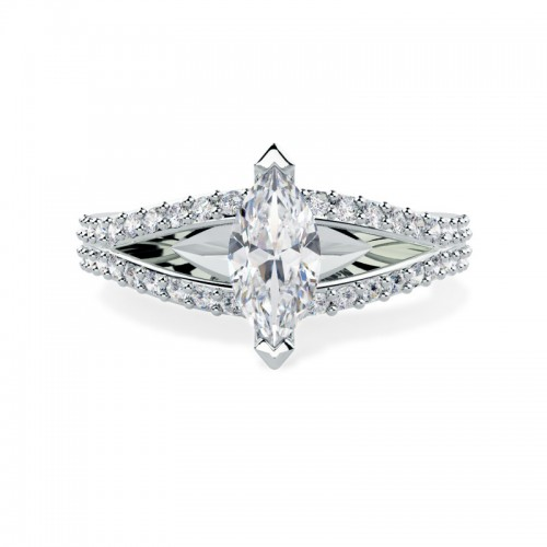 A stunning split band Marquise Cut diamond ring with shoulder stones in platinum