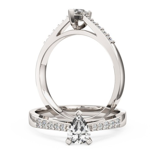 An elegant Pear Shaped diamond ring with shoulder stones in platinum