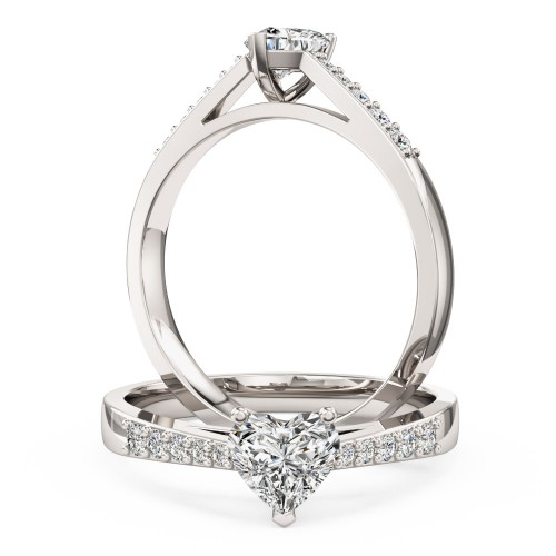 A charming Heart Shaped diamond ring with shoulder stones in 18ct white gold (In stock)