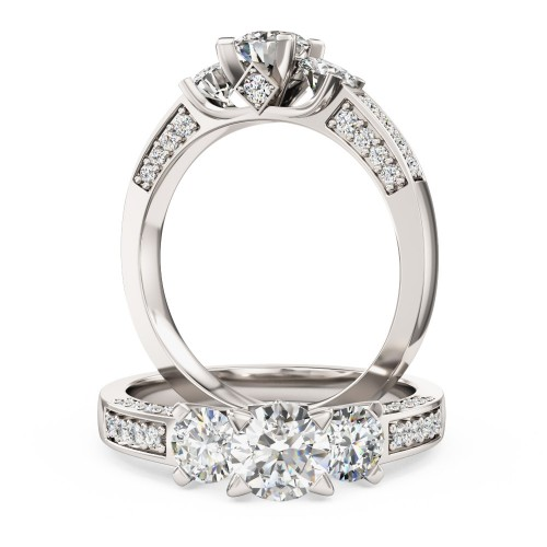 A breathtaking Round Brilliant Cut three stone diamond ring with shoulder stones in 18ct white gold