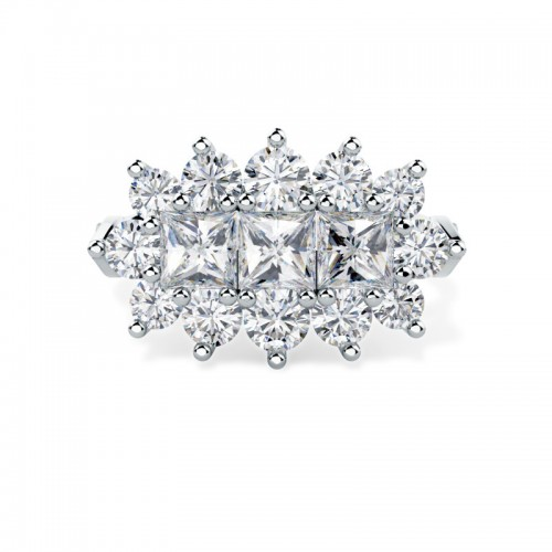 A breathtaking Princess & Round Brilliant Cut dress diamond ring in platinum