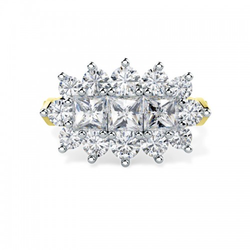 A breathtaking Princess & Round Brilliant Cut dress diamond ring in 18ct yellow & white gold