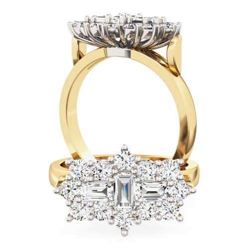 A beautiful Baguette & Round Brilliant Cut cluster diamond ring in 18ct yellow & white gold