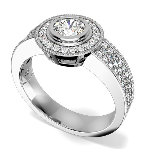 A stunning Round Brilliant Cut cluster style diamond ring in platinum