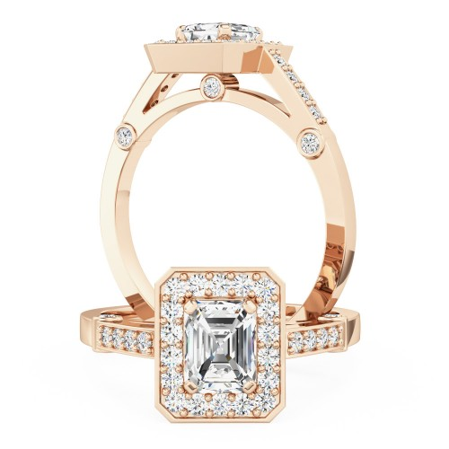 A beautiful Emerald Cut cluster style diamond ring in 18ct rose gold