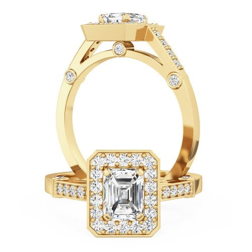A beautiful emerald cut cluster style diamond ring in 18ct yellow gold