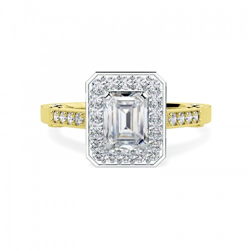 A beautiful Emerald Cut cluster style diamond ring in 18ct yellow & white gold