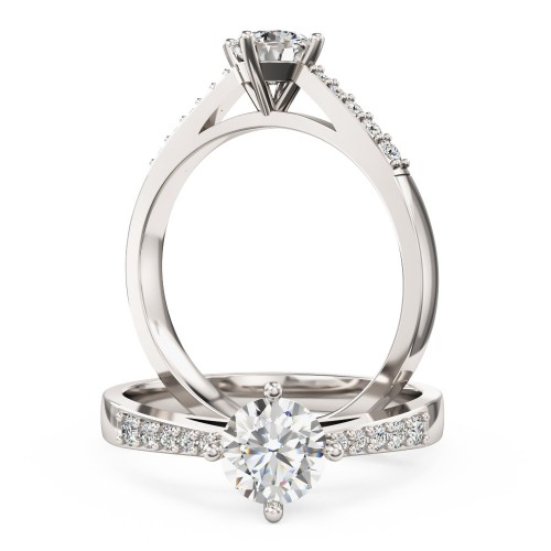 An elegant Round Brilliant Cut diamond ring with shoulder stones in platinum (In stock)