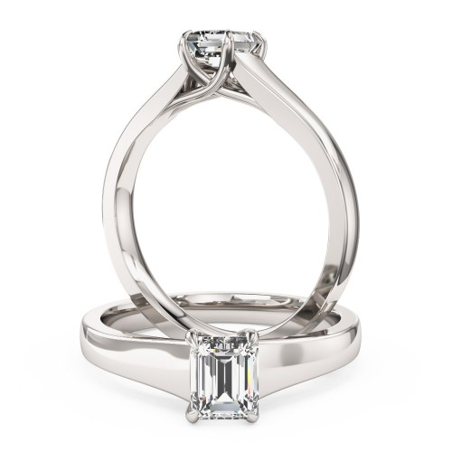 A stunning Emerald Cut solitaire diamond ring in 18ct white gold