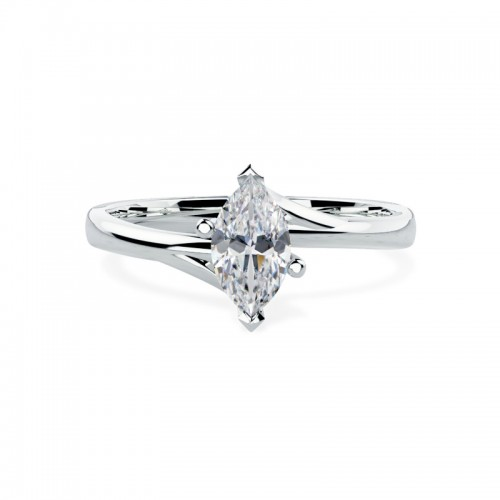 A unique Marquise Cut solitaire diamond ring in platinum