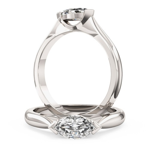 A unique Marquise Cut solitaire diamond ring in platinum (In stock)