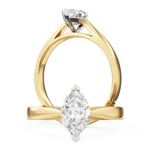 A classic marquise cut solitaire diamond ring in 18ct yellow & white gold
