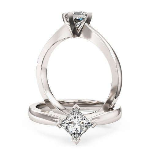 An elegant Princess Cut solitaire diamond ring in 9ct white gold