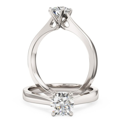 A classic Round Brilliant Cut solitaire diamond ring in 18ct white gold (In stock)