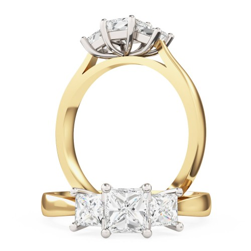 An elegant three stone princess cut diamond ring in 18ct yellow & white gold