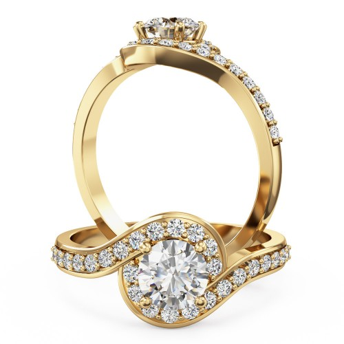 An elegant Round Brilliant Cut diamond ring with shoulder stones in 18ct yellow gold