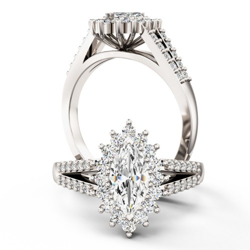 A breathtaking marquise cut cluster style diamond ring in platinum