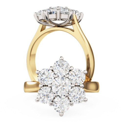 An elegant round brilliant cut cluster diamond ring in 18ct yellow & white gold
