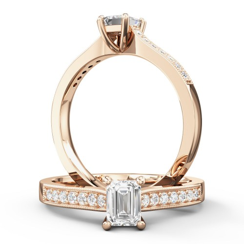 A beautiful Emerald Cut diamond ring with shoulder stones in 18ct rose gold