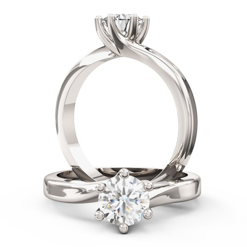 A beautiful Round Brilliant Cut solitaire diamond ring in platinum (In stock)