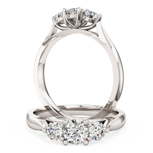 A beautiful round brilliant cut three stone diamond ring in 18ct white gold