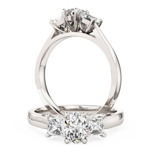 A stunning Oval & Princess Cut three stone diamond ring in 18ct white gold