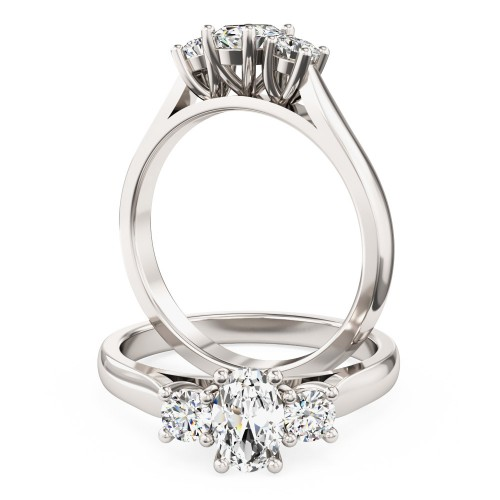 A stunning Oval & Round Brilliant Cut diamond ring in 18ct white gold