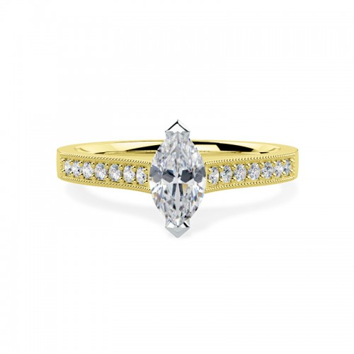 A beautiful Marquise Cut diamond ring with shoulder stones in 18ct yellow & white gold