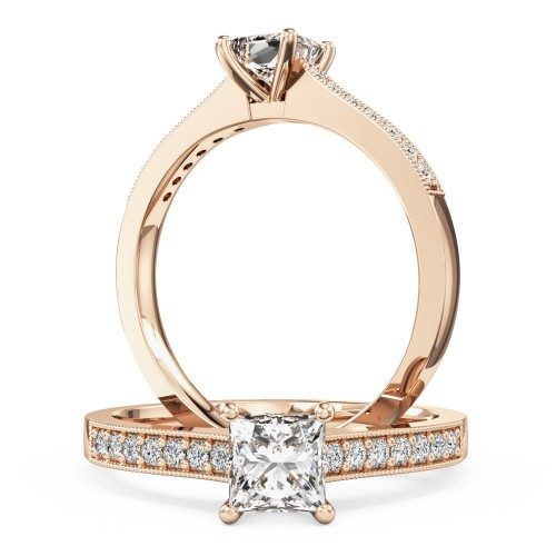 Princess Cut Diamond Ring With Shoulder Stones In 18ct Rose Gold Pd495r Purely Diamonds